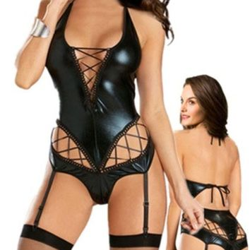 PEAPIX3 Easy Lover Sexy Patent Leather Teddy A-line Deep-v Lingerie with Garter Belt (Size: M, Color: Black) = 1931924740