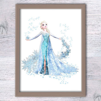 Disney princess Elsa print Frozen Elsa watercolor poster Disney wall decor Baby shower gift Kids room decor Nursery room wall hanging V137
