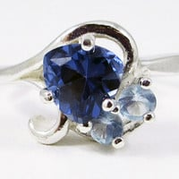 Trillion Aquamarine Sapphire Sterling Silver Ring