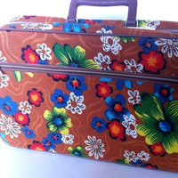 Vintage Suitcase Small Canvas Bright Flowers by vintage19something