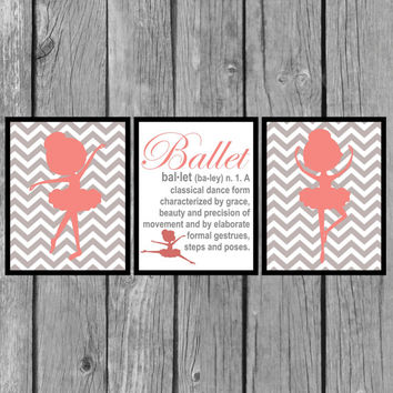 "Kids wall art/Girls Room decor/dance picture/nursery wall decor/Coral and Gray Picture/set of 3 8x10"" Prints"