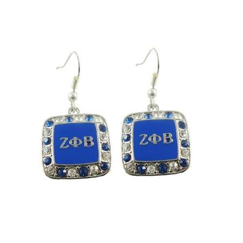 ZETA PHI BETA  Sorority  fish hook  earrings Crystal Letters Earrings for Zeta Phi Beta  3pair (RUSH GIFTS)