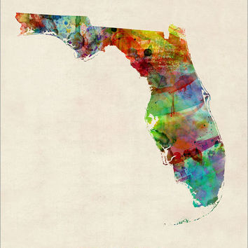 Florida Watercolor Map USA, Art Print (349)