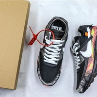 OFF-WHITE x Nike Air Max 90 Black Colorful Sneaker Shoes