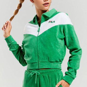 FILA + UO Nox Velour Track Jacket | Urban Outfitters