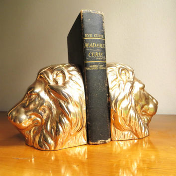Vintage Brass Lion Bookends, Gold Lion Bookends, Hollywood Regency, Regal Bookends, Simba, Mufasa, Aslan, Heavy Bookends