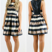 The Gold Standard Striped Sleeveless A-Line Dress
