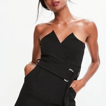 Missguided - Black Bandeau Wrap Tux Belted Playsuit