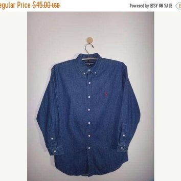 SALE Christmas Xmas Vintage Polo Ralph Lauren Denim Shirt Button Down Long Sleeve shirt Red Pony Polo Workwear Men's Clothing