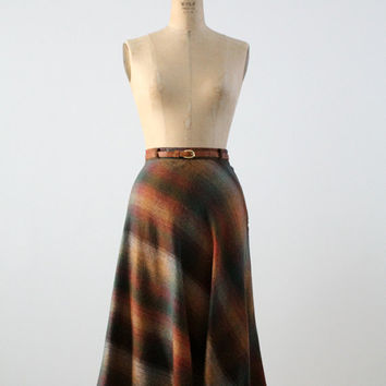 SALE vintage 70s plaid skirt / a-line wool skirt with skinny belt