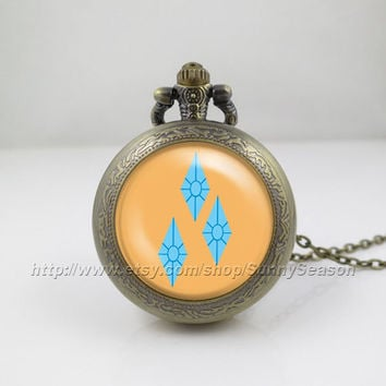 My little pony Pocket Watch,My little pony rarity unicorn cutie mark Pendant Necklace,rarity mark Locket necklace,Pocket Watch,style 1