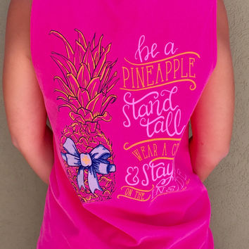 Stand Tall Pineapple Tank - Neon Pink
