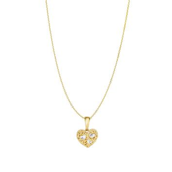 14k Yellow Gold Heart Pendant Chain Necklace, 18""