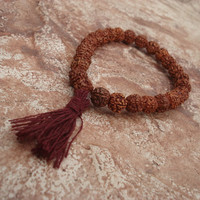 Rudraksha Bracelet, Wrist Mala, Quarter Mala, Beads from India, Prayer Beads, Burgundy Tassel