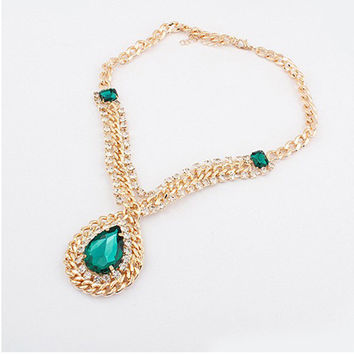 Shiny Stylish New Arrival Jewelry Gift Vintage Palace Water Droplets Gemstone Necklace [6586311239]