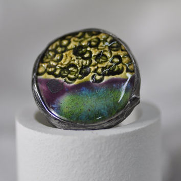 Ceramic ring, multicolor  ring,  adjustable ring, gift for her, zolanna, handmade, author, natural ring cocktail boho style