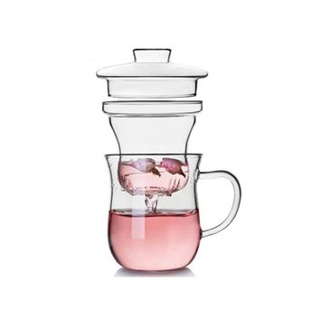Glass Cup with Tea Infuser Filter & Lid