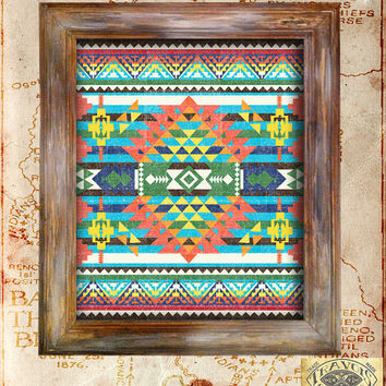 Southwest Indian Blanket Native American Vintage Print Rustic Americana Antique Aztec Navajo Poster Home Decor Wall