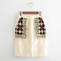 Beige Lace Pattern Pocket Skirt