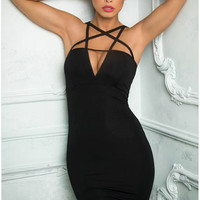 Black Cutout Criss-Cross Zip-Back Bodycon Dress