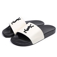 YSL Popular Women Simple Metal Letter Logo Sandal Slipper Shoes White I12236-1