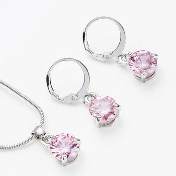 Trendy Multicolor Cubic zirconia Jewelry Sets For Woman Charm Long Necklace Pendant Crystal Earrings Wedding Jewelry Gift Bijoux