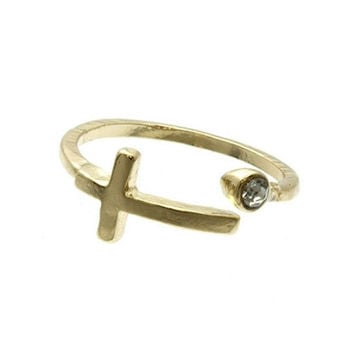 Gold Cross Knuckle Ring