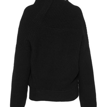 ACNE STUDIOS Jacy L Rib Black Draped rib knit sweater - Sweaters