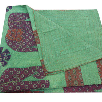 Patchwork Elephant Applique Kantha Quilt Quilted Bedspreads,Throws,Ralli,Gudari Handmade Tapestery Bedding Blanket