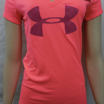 Under Armour Womens Pink Heatgear Semi Fitted V-Neck Tee T-Shirt Size L
