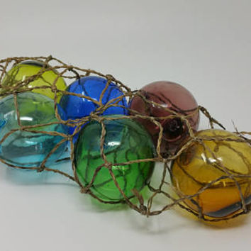 Vintage Nautical Hand Blown Glass Balls in Net Set of Six