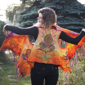 Unique felted vest, bright orange wool vest with fancy fringe. OOAK