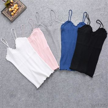 Plain Lace Sling Camisole Knitted Slim Tank Tops
