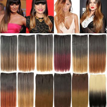 CELEBRITY CLIP IN ONE PIECE OMBRE DIP DYE STRAIGHT HAIR EXTENSION WEFT