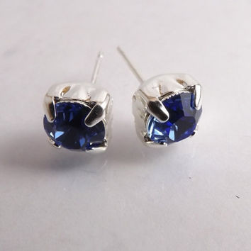 "Swarovski Sapphire Stud Earrings & Magnetic Earrings - ""Shimmer - Sapphire""  - September birthstone"