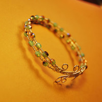 Silver Wire Wrap Polished Czech Beads Bracelet