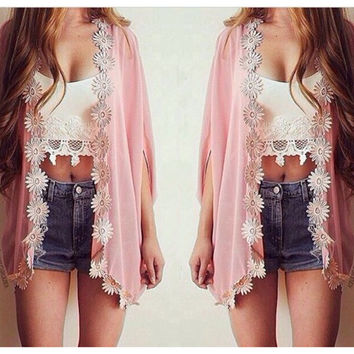 Flower Chiffon Bat Sleeve Cardigan