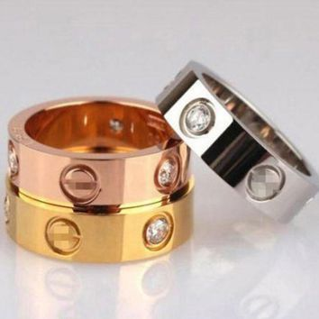"Cute Couple Rings Women Ring ""Cartier"" Rhinestone Ring"
