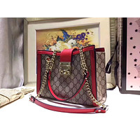 GUCCI PADLOCK COATED CANVAS LEATHER SHOULDER BAG