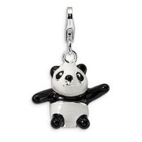 3-D Enameled Panda Charm in Sterling Silver
