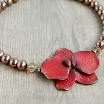 Statement collar Red Orchid necklace, Floral pendant with pearl Jewelry, Boho red flower pendant, Red woman jewelry, Statement gift for her