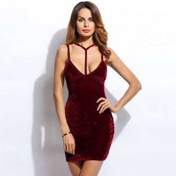 Women Sexy Vintage Style Halter Sleeveles Harness Detail Solid Pencil Bodycon Short Dress