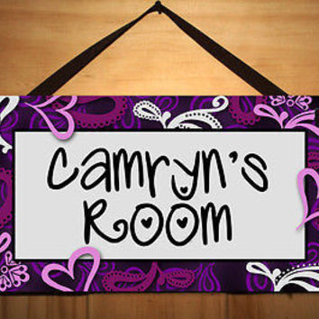 Kids Door Sign Purple Swirls Hearts Girls Room Teen Personalized Name DS0336