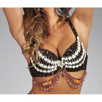 Tribal Sequin Sea Shell Bra Top | Rave Outfit for Women | Seashell Bra