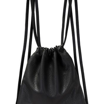 Black Double Drawstrings Backpack