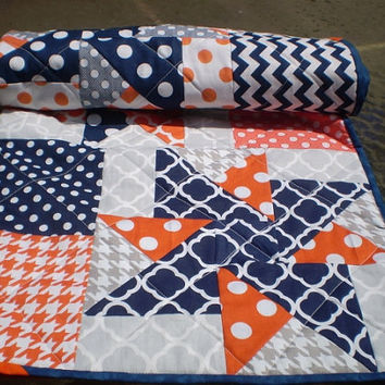 Baby quilt,Nautical,navy,grey,orange,Baby boy bedding,baby girl quilt,Patchwork Crib quilt,chevron baby quilt,modern,Nautic Star Sensation
