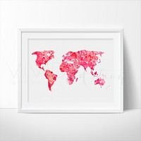 World Map 4 Watercolor Art Print
