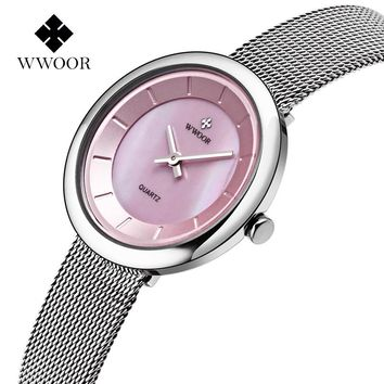 WWOOR New Women Watches Quartz-watch Dress Ladies Watch Women Relojes Mujer Classic Retro Stainless Straps shell face pink