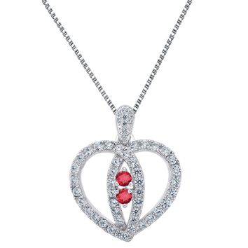Sterling Silver Forever Us Heart Pendant 2 Row Red Solitaire CZ 24 Inch Necklace