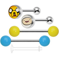 Licensed Adventure Time 5 Piece Acrylic and Logo Barbell Pack Set | Body Candy Body Jewelry